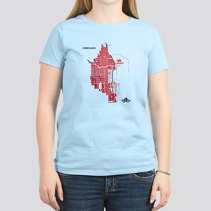 Chicago Women's T-Shirt Red on Light Pink