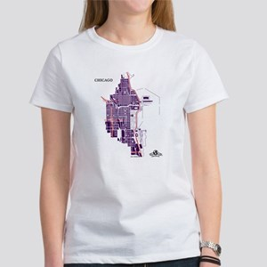 Chicago Women's T-Shirt Purple on White