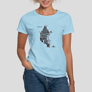 Chicago Women's T-Shirt Black on Light Blue