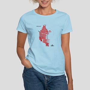 Chicago Women's T-Shirt Red on Light Blue