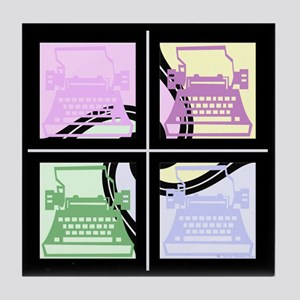 Abstract Pop Art Typewriter Tile Coaster