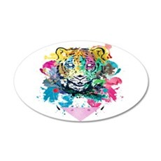 Colourfull Tiger 22x14 Oval Wall Peel