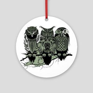 Three Owls Ornament (Round)