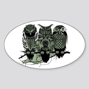 Three Owls Sticker (Oval)