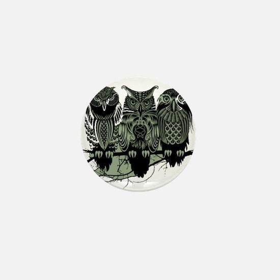 Three Owls Mini Button