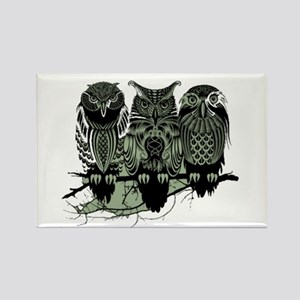 Three Owls Rectangle Magnet