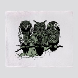 Three Owls Throw Blanket