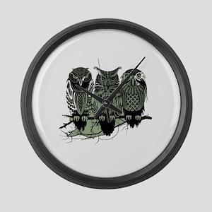 Three Owls Large Wall Clock