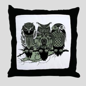 Three Owls Throw Pillow