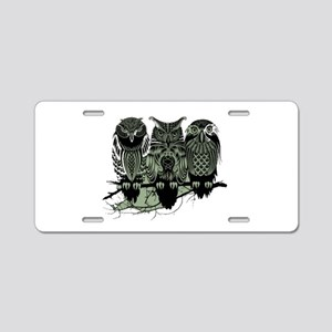 Three Owls Aluminum License Plate