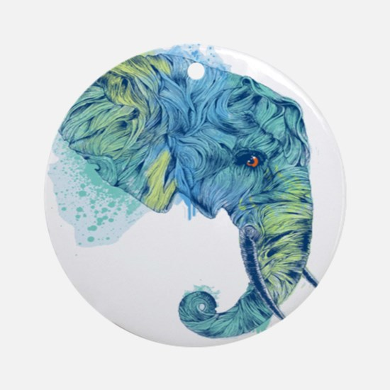 Blue Elephant Ornament (Round)