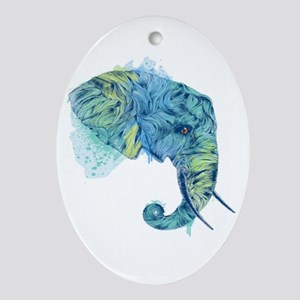 Blue Elephant Ornament (Oval)