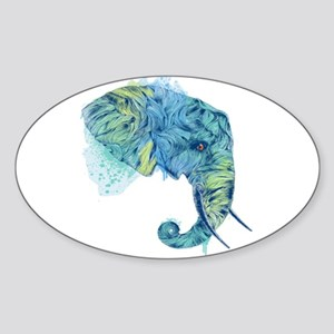 Blue Elephant Sticker (Oval)