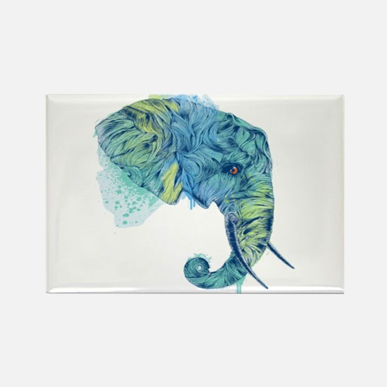 Blue Elephant Rectangle Magnet