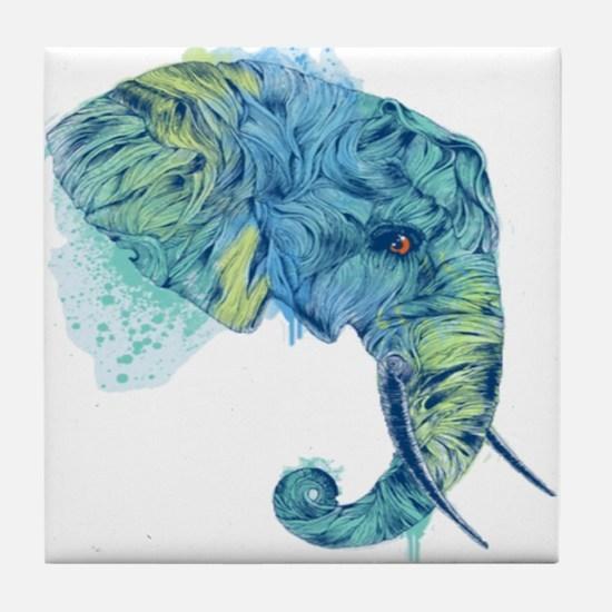 Blue Elephant Tile Coaster