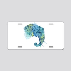 Blue Elephant Aluminum License Plate