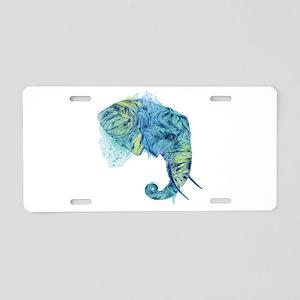 Blue Elephant Aluminum License Plate