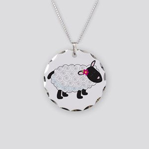 Little Lamb Necklace Circle Charm
