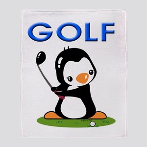 Golf Penguin (1) Throw Blanket