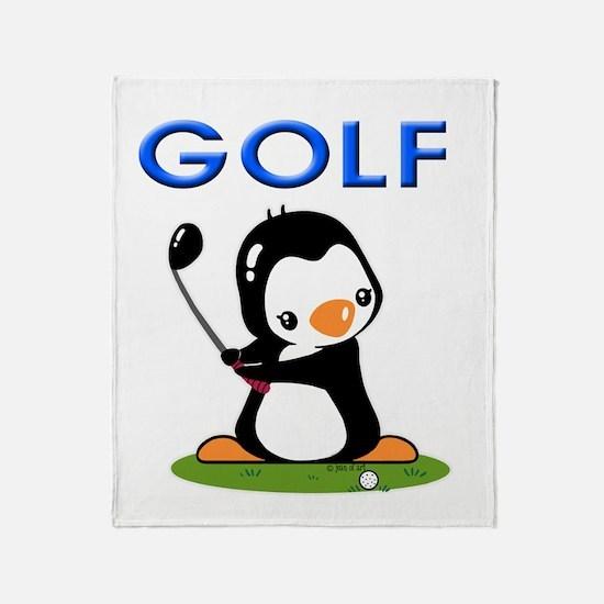 Golf Penguin (1) Throw Blanket