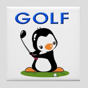 Golf Penguin (1) Tile Coaster