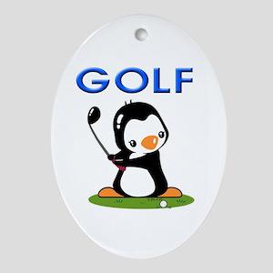 Golf Penguin (1) Oval Ornament