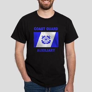 USCG Auxiliary Flag<BR> Black T-Shirt 1