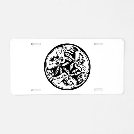 Round Celtic Dogs Aluminum License Plate