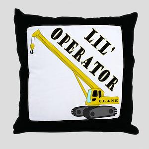Lil' Crane Operator Throw Pillow
