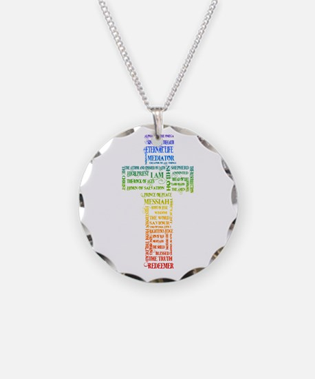 Names of Jesus Cross Necklace Circle Charm