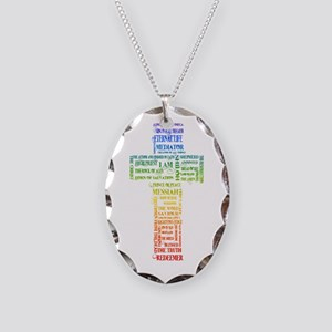 Names of Jesus Cross Necklace Oval Charm
