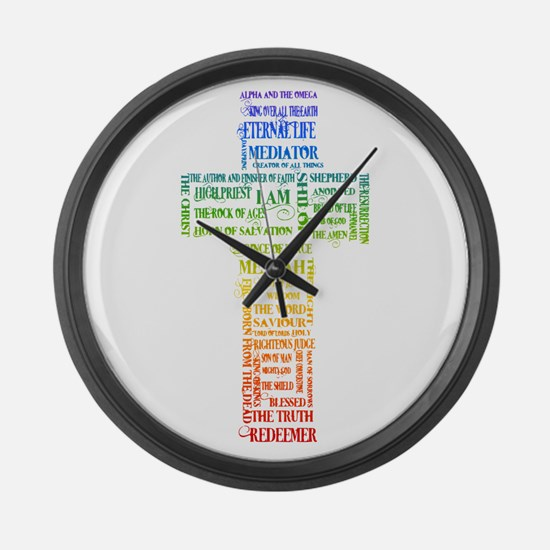 Names of Jesus Cross Large Wall Clock
