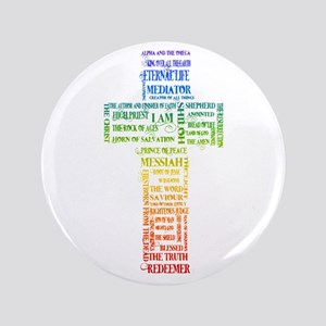 "Names of Jesus Cross 3.5"" Button"