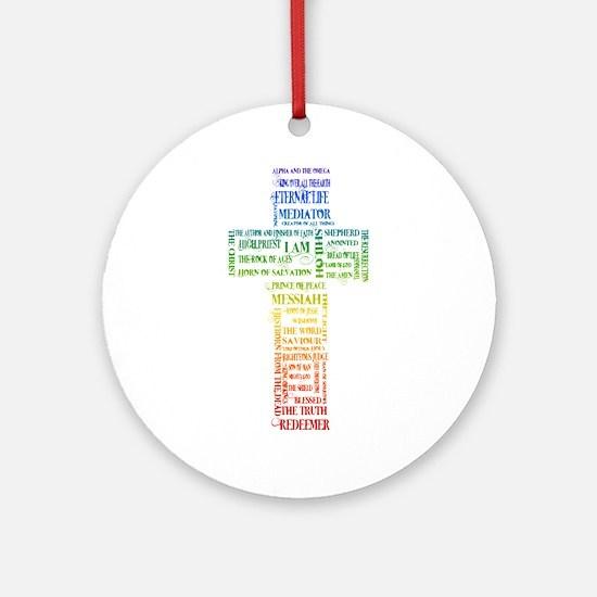 Names of Jesus Cross Ornament (Round)