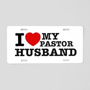I love my Pastor Husband Aluminum License Plate
