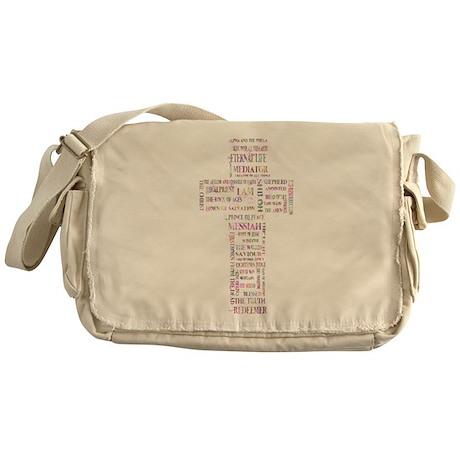 Jesus' Names Cross (pink colorful) Messenger Bag