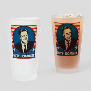 Retro Mitt Romney Drinking Glass