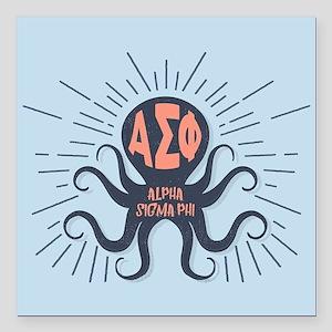 """AlphaSigmaPhi Octopus Square Car Magnet 3"""" x 3"""""""