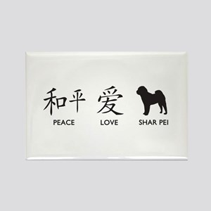 Chinese-Peace, Love, Shar Pei Rectangle Magnet