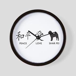 Chinese-Peace, Love, Shar Pei Wall Clock