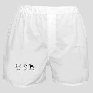 Chinese-Peace, Love, Shar Pei Boxer Shorts