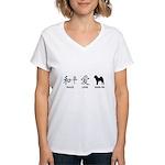 Chinese-Peace, Love, Shar Pei Women's V-Neck T-Shi