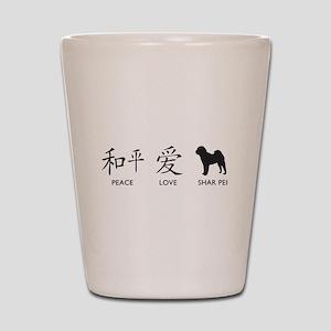 Chinese-Peace, Love, Shar Pei Shot Glass