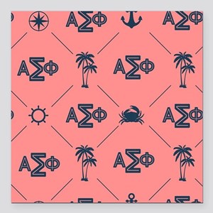 "AlphaSigmaPhi Coral Patt Square Car Magnet 3"" x 3"""