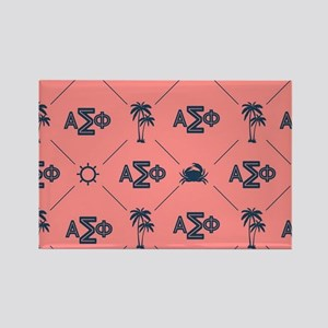 AlphaSigmaPhi Coral Pattern Rectangle Magnet