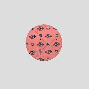 AlphaSigmaPhi Coral Pattern Mini Button