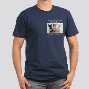 God & Chihuahuas Men's Fitted T-Shirt (dark)