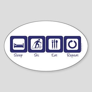 Sleep- Ski- Eat- Repeat Oval Sticker