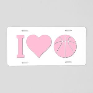 I Love Basketball Pink Aluminum License Plate