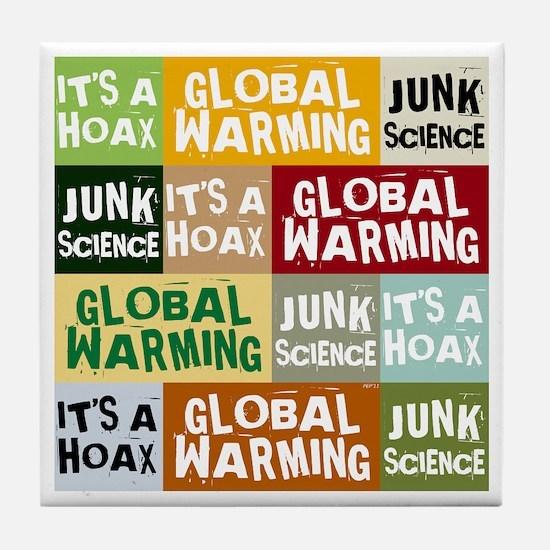 Global Warming Hoax Tile Coaster